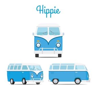 Mini furgoneta azul hippie vintage