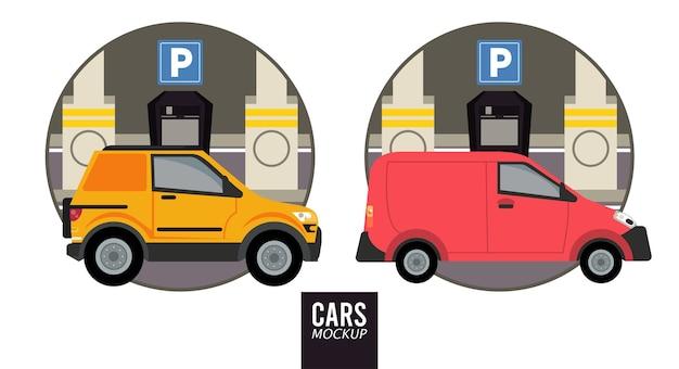 Mini furgoneta y maqueta de vehículos de automóviles.