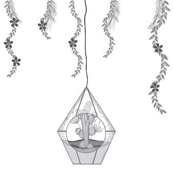 Mini jardín en cristal moderno en colores gris y blanco