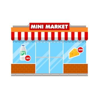 Mini market shop en estilo plano