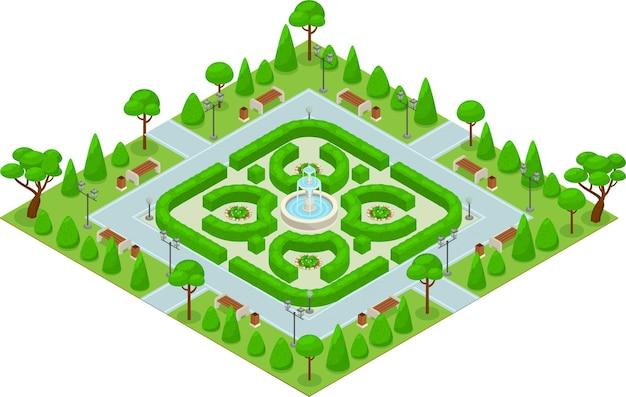 Mini parque del concepto del parque del diseño del paisaje coloreado isométrico con arbustos verdes y una fuente grande