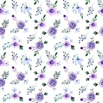 Mini patrón transparente floral acuarela púrpura