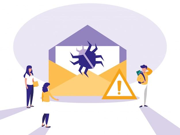 Mini personas con correo de sobres y virus de ataque