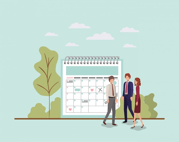 Mini personas con recordatorio de calendario