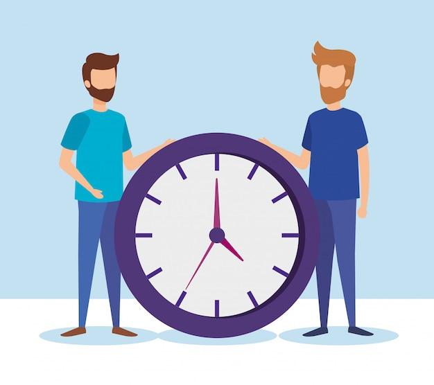 Mini personas con reloj de tiempo