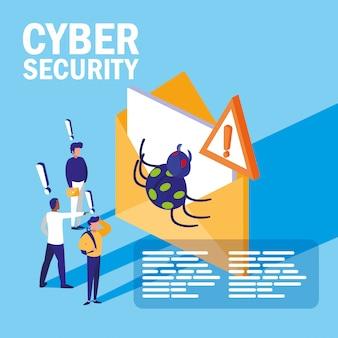 Mini personas con sobre infectado y ciberseguridad