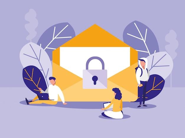 Mini personas con sobres de correo y candado