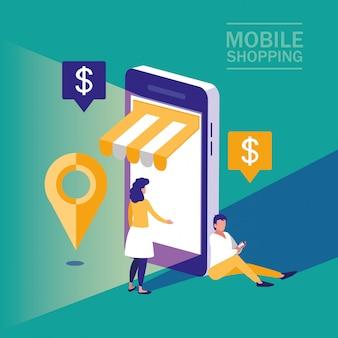 Mini personas con teléfono inteligente y compras en línea