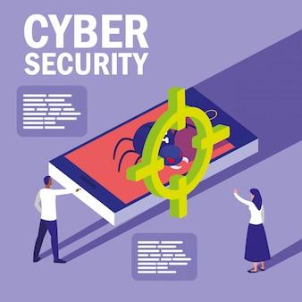Mini personas con teléfonos inteligentes infectados y ciberseguridad