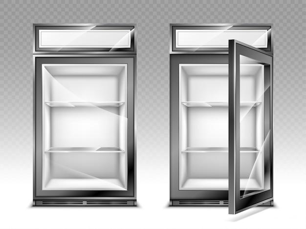 Mini refrigerador para bebidas con pantalla digital.