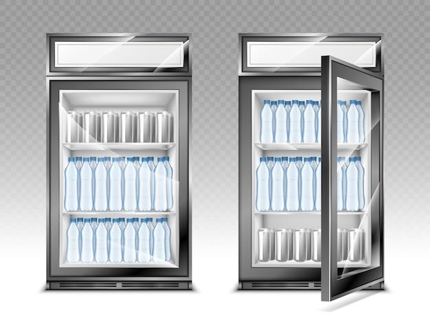 Mini refrigerador con botellas de agua y bebidas, refrigerador con pantalla digital publicitaria y transparente.