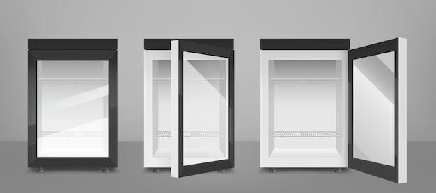 Mini refrigerador negro con puerta de vidrio transparente.