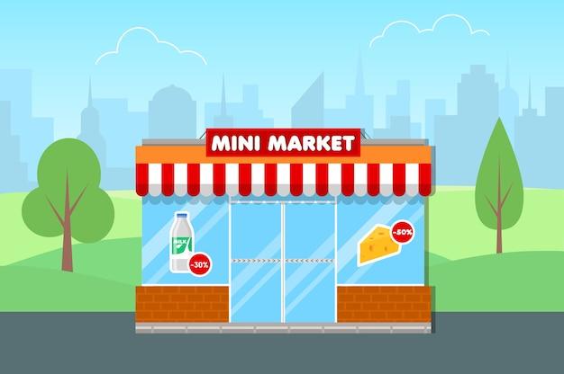 Mini tienda de mercado de estilo plano. fachada del supermercado gran ciudad en el fondo.