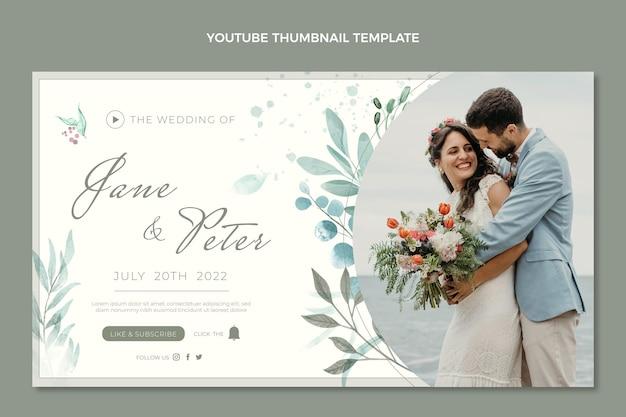 Miniatura de youtube de boda dibujada a mano en acuarela