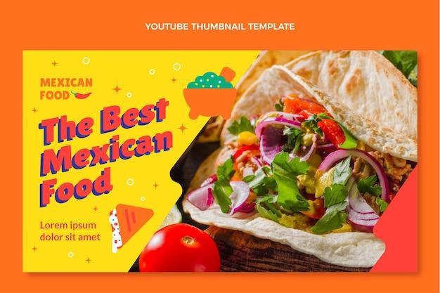 Miniatura de youtube de comida mexicana de diseño plano