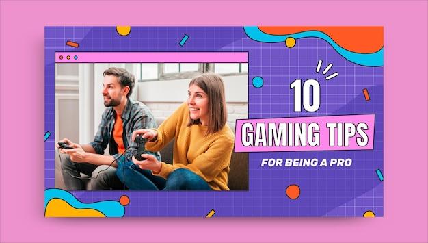 Miniatura de youtube de consejos de juegos de cuadrícula creativa