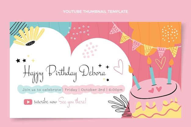 Miniatura de youtube de cumpleaños mínima plana