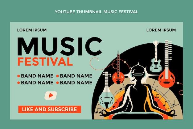 Miniatura de youtube del festival de música colorido dibujado a mano