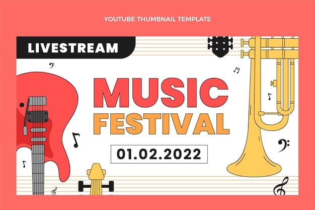 Miniatura de youtube del festival de música minimalista plana