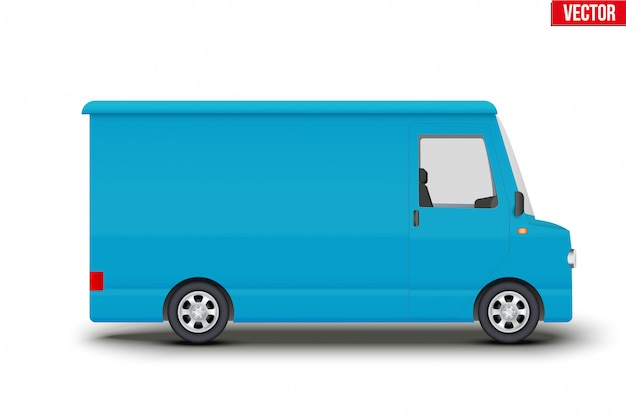 Minibús de furgoneta de servicio azul retro