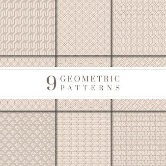 Minimal colección de patrones geométricos beige.