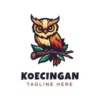 Minimalismo moderno búho colorido logotipo detallado