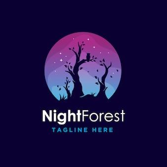 Minimalismo moderno colorido bosque nocturno logotipo