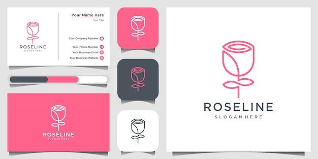 Minimalista elegante flor rosa belleza, cosméticos, yoga e inspiración spa. logotipo, icono y tarjeta de visita