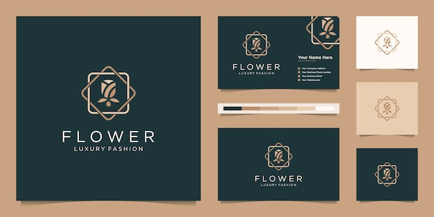 Minimalista elegante flor rosa lujo salón de belleza, moda, cuidado de la piel, cosméticos, yoga y productos de spa. diseño de logo y tarjeta de presentación