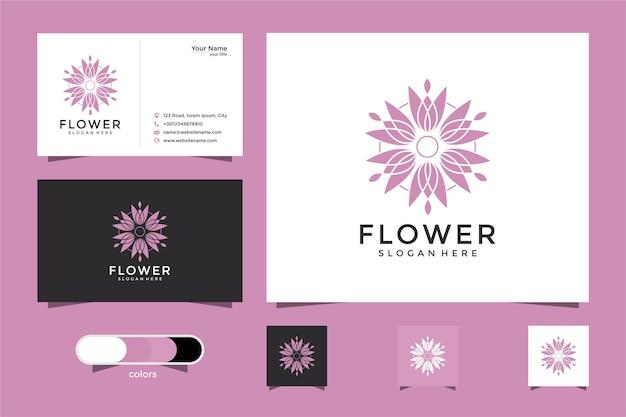 Minimalista elegante flor rosa salón de belleza de lujo, moda, cuidado de la piel y tarjeta de visita