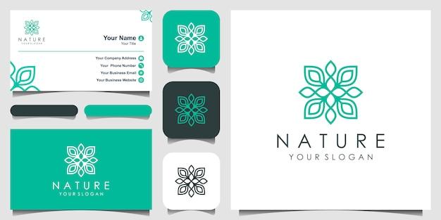 Minimalista elegante logotipo de flor rosa para belleza, cosmética, yoga y spa. diseño de logo y tarjeta de presentación