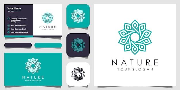Minimalista elegante logotipo floral rosa para belleza, cosmética, yoga y spa. diseño de logo y tarjeta de presentación