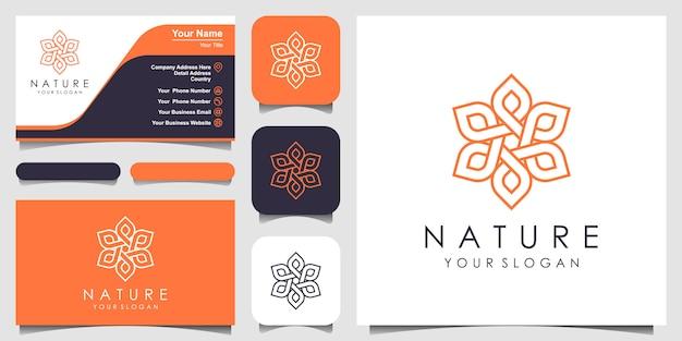Minimalista elegante logotipo floral rosa para belleza, cosmética, yoga y spa. logotipo y tarjeta de visita
