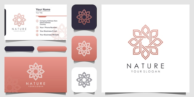 Minimalista elegante rosa floral para belleza, cosmética, yoga y spa. logotipo y tarjeta de visita