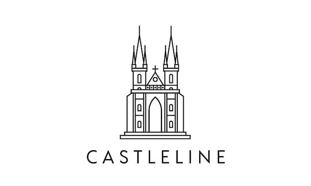 Minimalista line art castle logo diseño inspiración