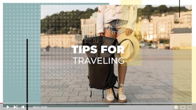 Minimalista moderno vlog viajes en miniatura de youtube