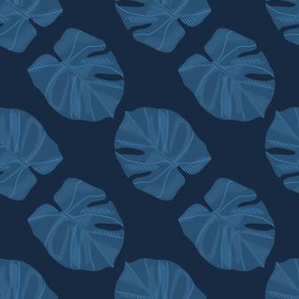 Minimalista oscuro monstera siluetas de patrones sin fisuras doodle. follaje de palmeras en tonos azul marino
