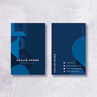 Minimalista plantilla de tarjeta de visita azul oscuro