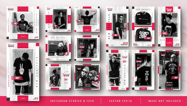 Minimalista red instagram stories and feed post fashion sale template