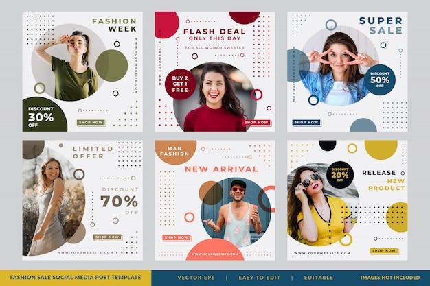Minimalista venta de moda redes sociales post circle