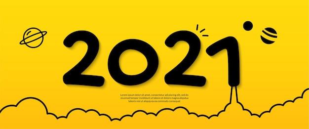 Mínimo feliz año nuevo sobre fondo amarillo