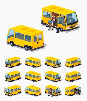 Minivan de pasajeros isométrica 3d lowpoly