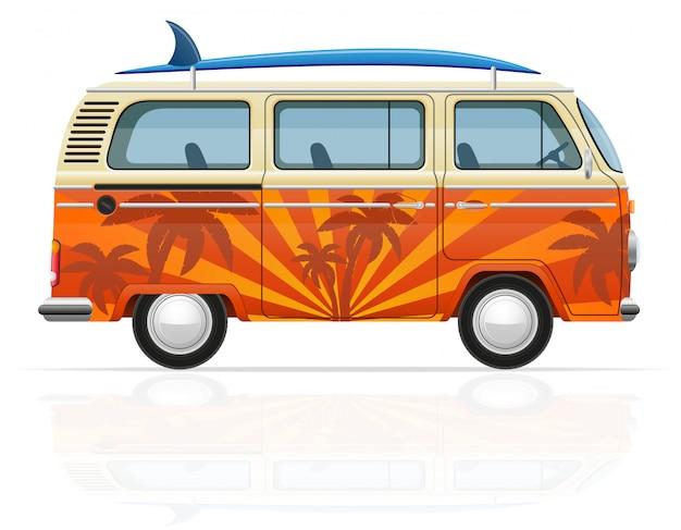 Minivan retro con una ilustración de vector de tabla de surf