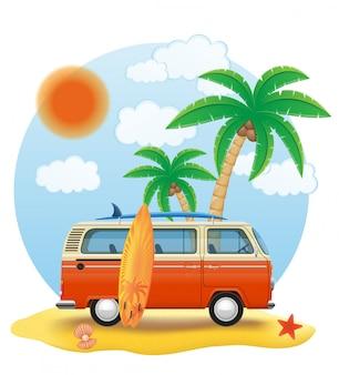 Minivan retro con una tabla de surf en la ilustración de vector de playa