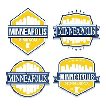 Minneapolis minnesota conjunto de diseños de estampillas de viajes y negocios