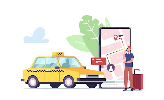 Minúsculo personaje de cliente masculino para pedir taxi en línea a través de la aplicación de teléfono inteligente con mapa