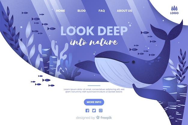 Mira a fondo la plantilla web de la naturaleza