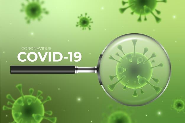 Mirada de células de coronavirus a través de un fondo de lupa