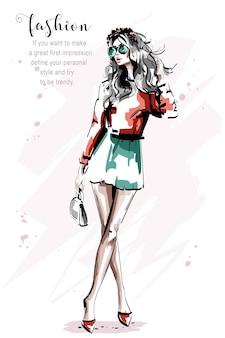Mirada de mujer de moda Vector Premium