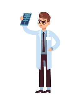 Mirada de rayos x. doctor sosteniendo y mirando foto de laboratorio de pruebas de roentgen. personaje médico de dibujos animados de vector